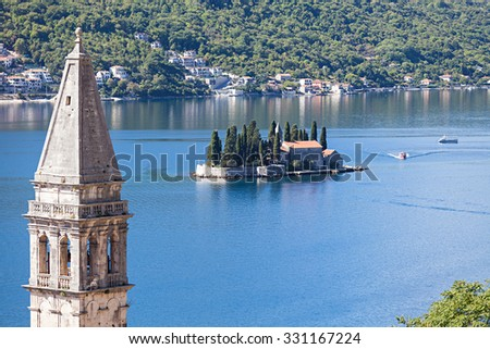 Monastery on the island in Perast, Montenegro. - stock photo