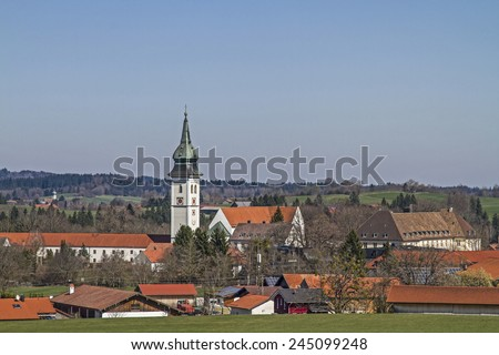 Monastery Rottenbuch is one of the most magnificent Rococo jewel in the well-known for its churches scenery of Pfaffenwinkel - stock photo