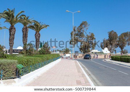 MONASTIR, TUNISIA, AFRICA - CIRCA MAY, 2012: Streets and roads are in central part of Monastir city. Monastir is a resort city in Tunisia