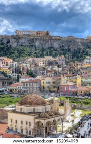 Monastiraki square and Acropolis in Athens,Gre - stock photo