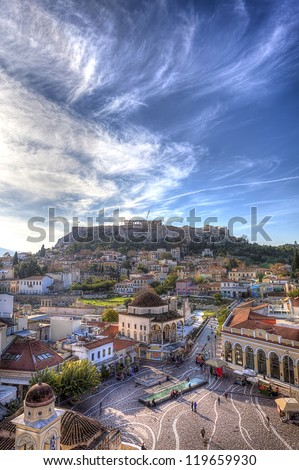 Monastiraki square and Acropolis in Athens,Greece - stock photo