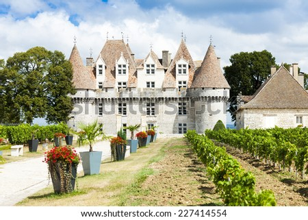 Monbazillac Castle with vineyard, Aquitaine, France - stock photo
