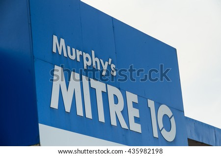 Monbulk, Australia - April 20, 2016: Mitre 10 is a retail and trade hardware chain, operating on a franchise co-operative model.  There are more than 400 Mitre 10 stores in Australia.