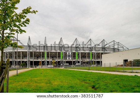 MONCHENGLADBACH, GERMANY- AUGUST 28, 2014:  Football stadium Borussia Park in Monchengladbach