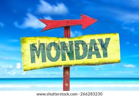 Monday sign with beach background - stock photo
