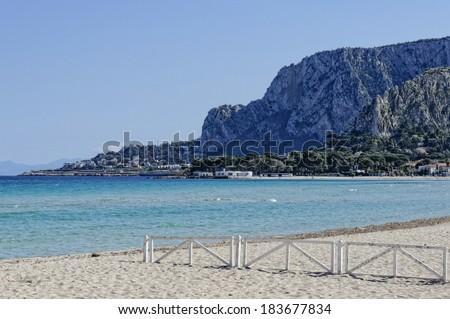 mondello beach in palermo sicily , italy - stock photo