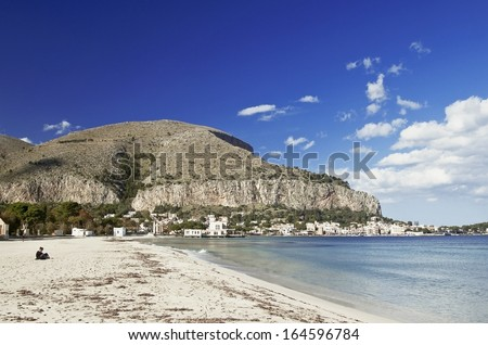 Mondello beach, west side view. Palermo, Sicily. - stock photo