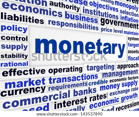 Monetary business words poster. Financial regulation creative conceptual design