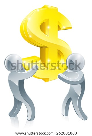 Monetary or business concept of two people cooperating using teamwork to move a giant dollar sign