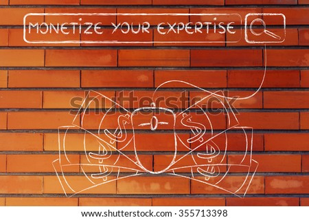 monetize your expertise: web search bar with computer mouse and cash - stock photo