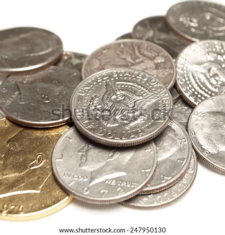 Money, American Coins, Silver Dollars and Half Dollars