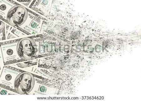 Money american hundred dollar bills disintegration. Abstract USD background - stock photo