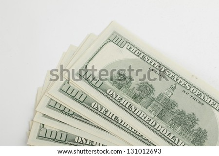 Money american hundred dollar bills on white background