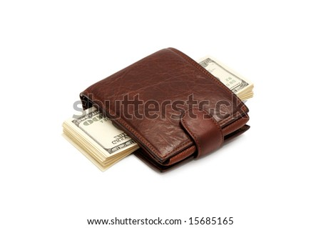 Money and a purse isolated on a white background