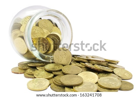 Money and bottle on white background. Saving concept