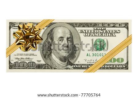 Money and bow isolated on white background