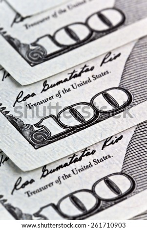money and business concept - several dollars banknotes