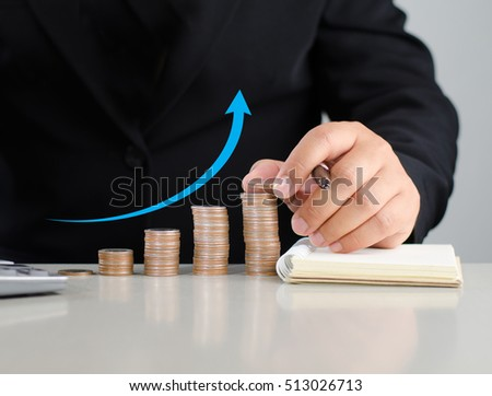 money and business grow concept with businessman saving money step arrow