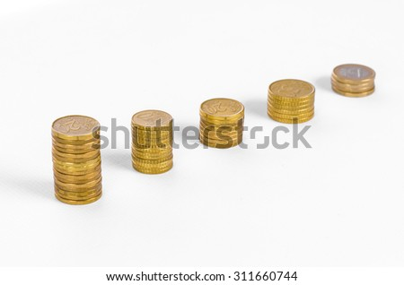 Money and business topic: Diagram of golden coins on a white background in studio