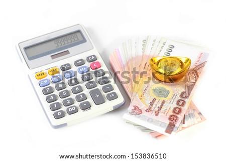 Money and calculator isolated - stock photo