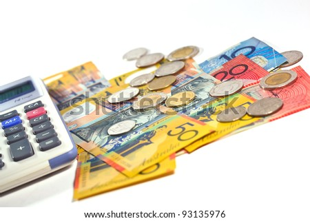 money and calculator on isolate background