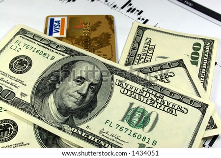 money and credit card - stock photo