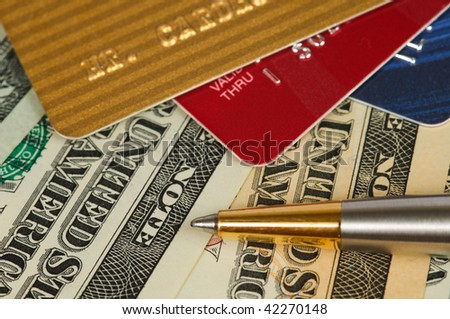 Money and credit cards. - stock photo