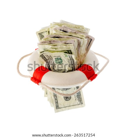 Money and finance: saving dollars, pack of one-hundred dollar bills inside a lifebuoy. Isolated on white background. Not a real money.