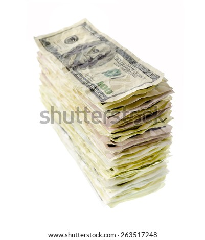 Money and finance: stack of old and crumpled one-hundred dollar bills, isolated on white background. Not a real banknotes. - stock photo