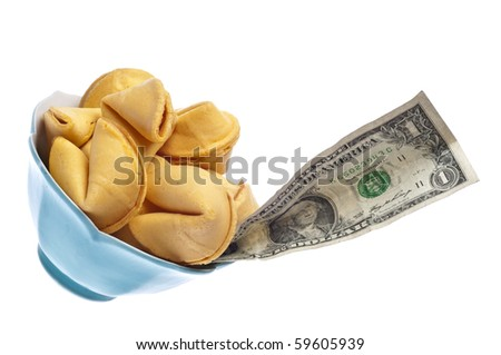 Money and Fortune Concept with Fortune Cookie and American Dollar Bill Isolated on White with a Clipping Path. - stock photo