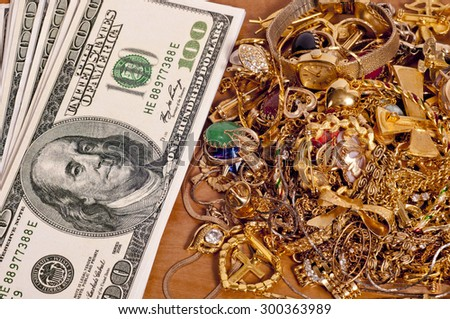 Money Gold Jewelry Close Up Cash Stock Photo Royalty Free