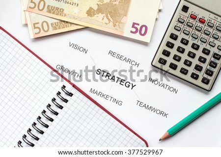 Money and office supply with business strategy