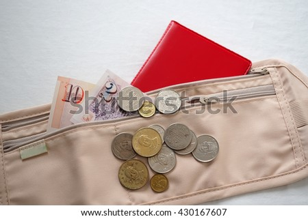Money and passport waist pouch for traveler. Travel bag for money and passport.