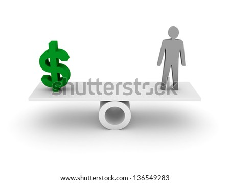 Money and Person balance. Concept 3D illustration.