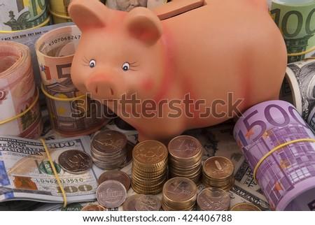 Money and piggy bank - stock photo