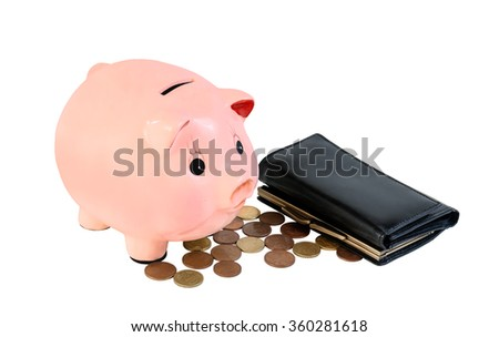 Money and piggy bank isolated on white background