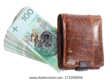 Money and savings concept. Stack of 100's polish zloty banknotes currency and wallet isolated on white