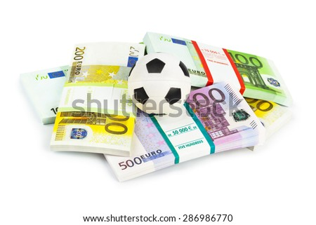 Money and soccer ball isolated on white background - stock photo