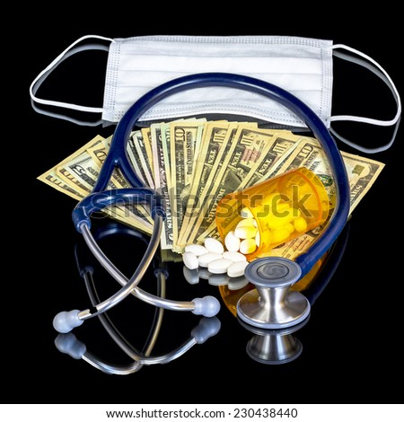 Money and surgical mask  - stock photo