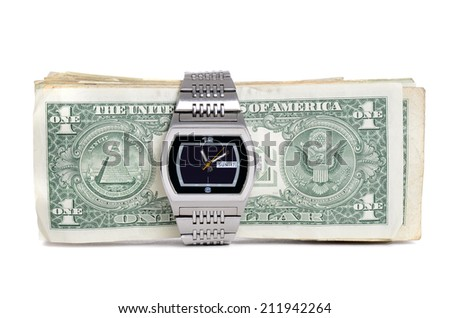 money and watch isolated white background - stock photo
