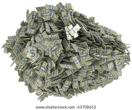 Money and wealth. Heap of US dollar bundles. Isolated over white. - stock photo