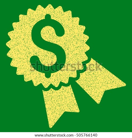 Money Award grainy textured icon for overlay watermark stamps. Flat symbol with scratched texture. Dotted glyph yellow ink rubber seal stamp with grunge design on a green background.