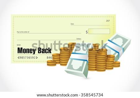 money back check and cash illustration design graphics - stock photo