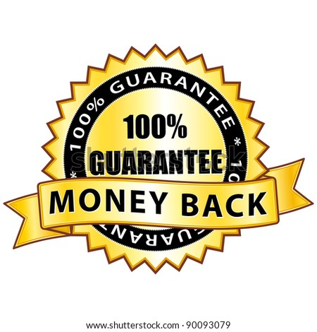 Money back 100% guarantee. Golden icon.