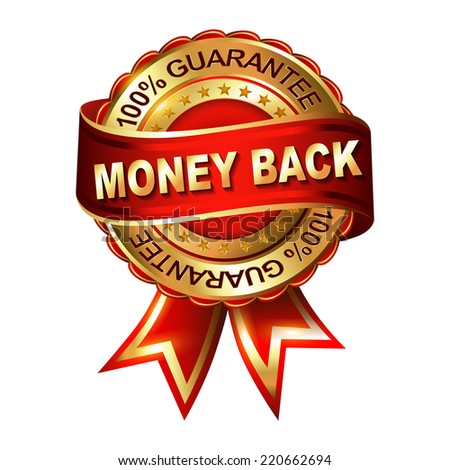 Money Back Guarantee golden label with ribbon.