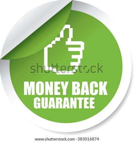 Money back Guarantee Green Circle Label, Sticker, Tag, Sign And Icon Banner Business Concept, Design Modern. - stock photo