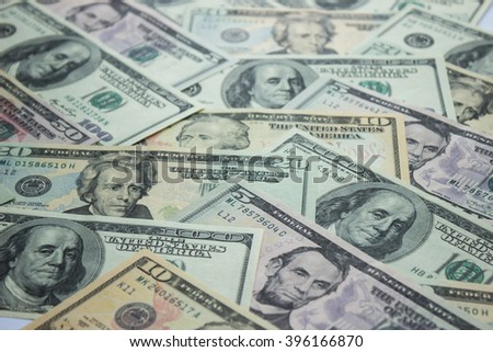 Money background - blurred dollars