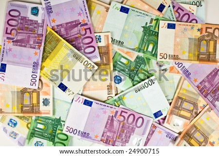 Money background. Different paper bills of euro currency