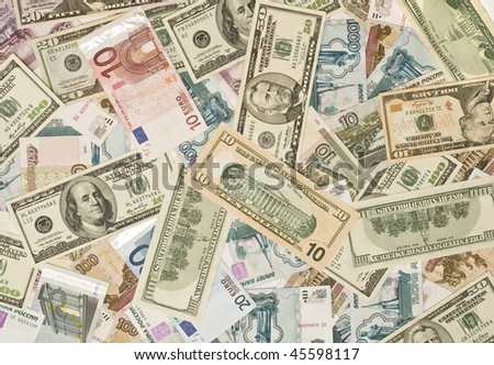 Money Background - Dollars, euros, russian roubles - stock photo