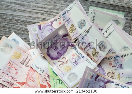 Money background from Various nominal Singapore dollars, clos up of banknote on wood table